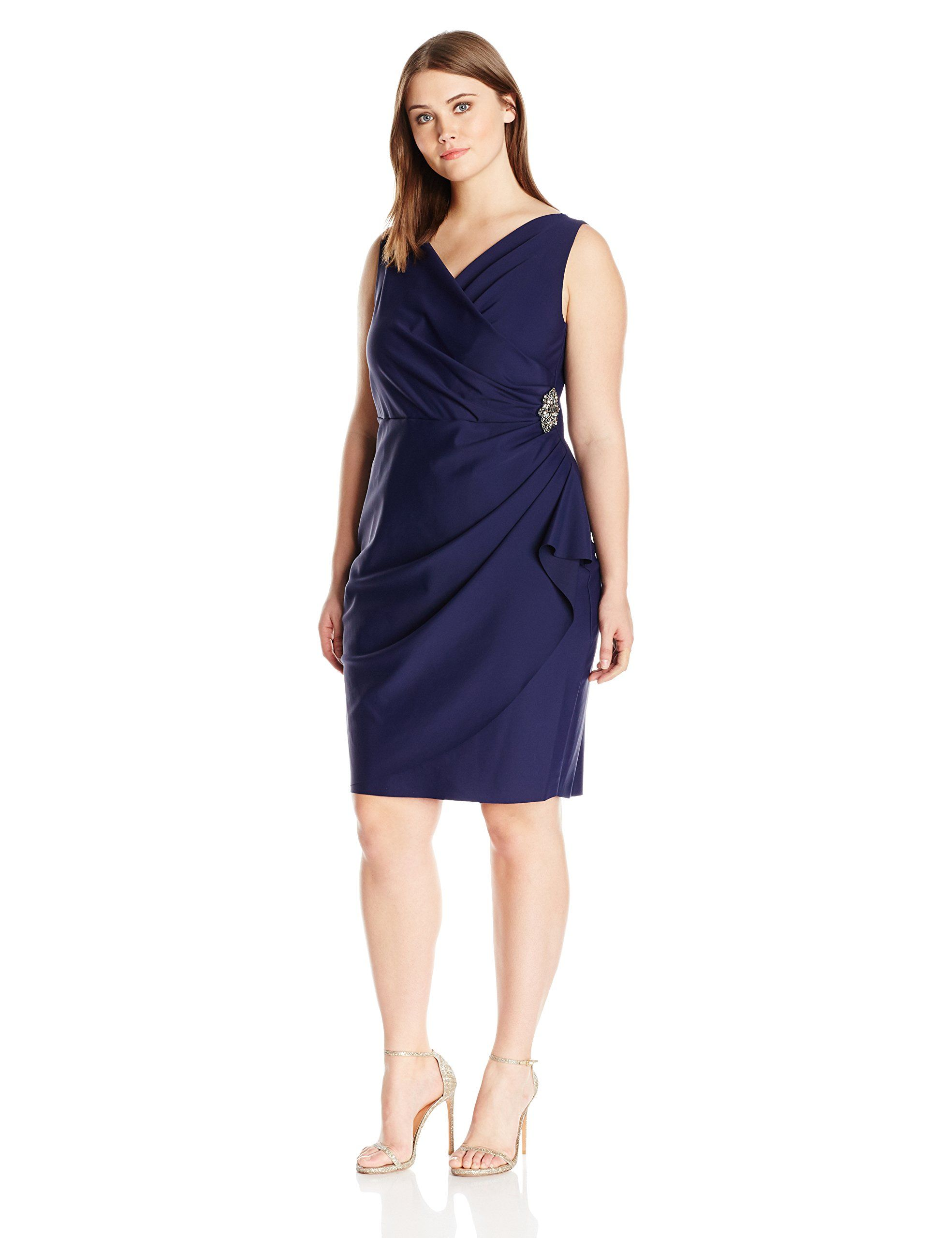 Alex evenings womenus plus size short side ruched dress with cascade