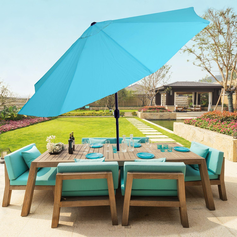 10 Aluminum Patio Umbrella With Auto Tilt Blue