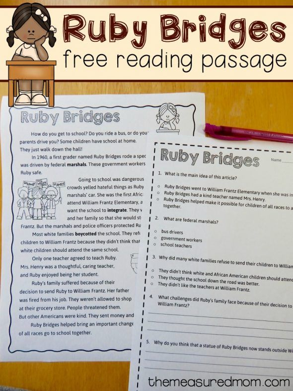 Free reading comprehension passage: A Ruby Bridges worksheet | Kind