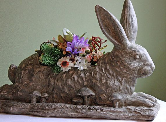 Antique Large Rabbit Planter Shabby Chic Garden Pot In Shape Of Rabbit Pottery Bunny Home Decoration Or Easter Table Centerpiece
