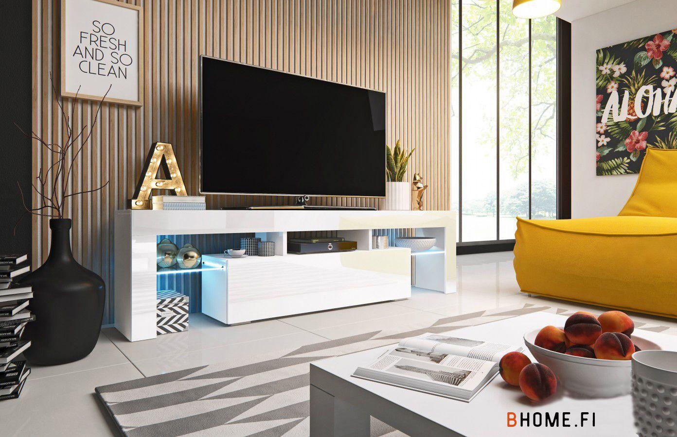 Vidaxl tv-taso korkeakiilto valkoinen 120x30x35,5 cm lastulevy