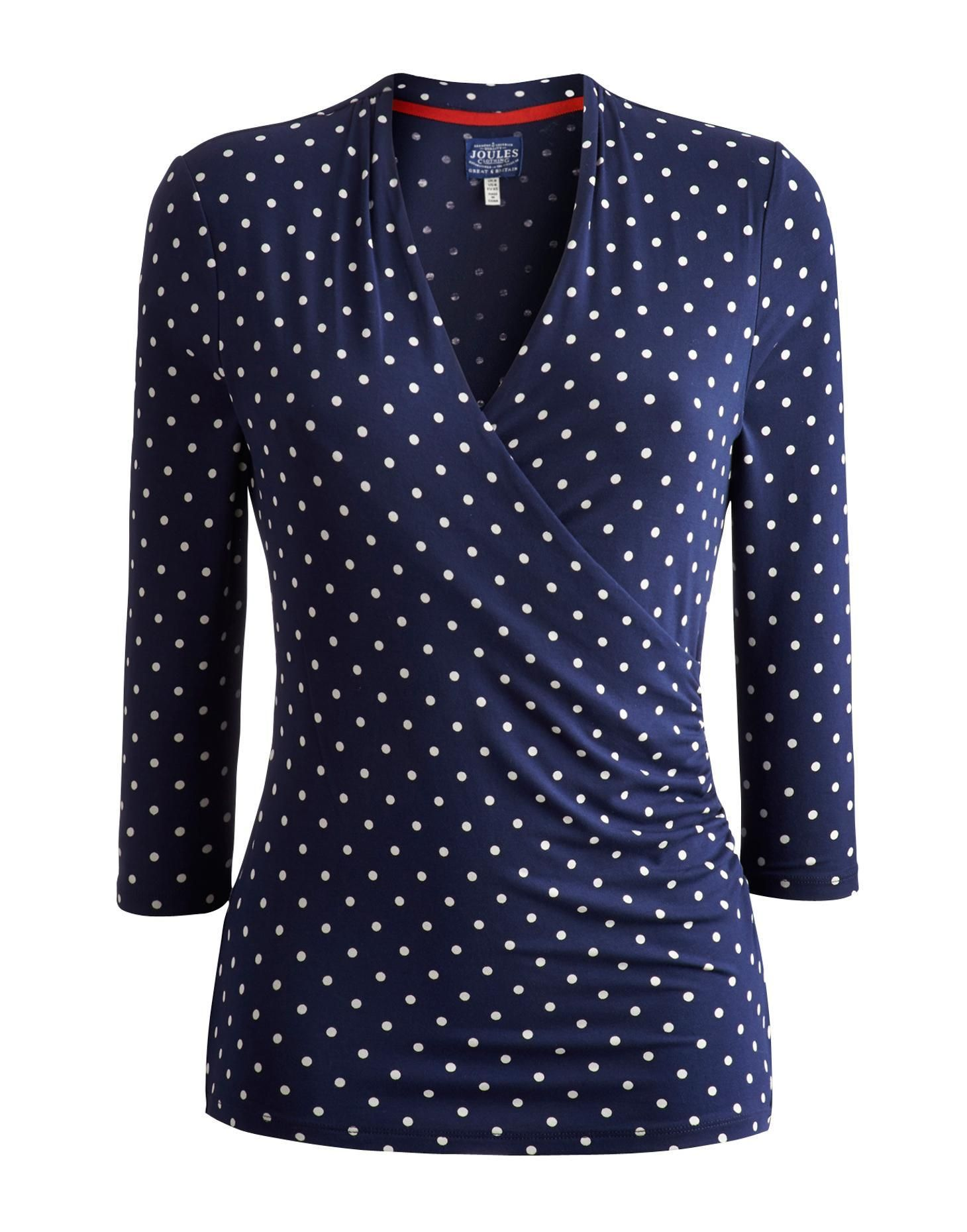 503d8def33d0b0 Joules Womens Fixed Wrap Jersey Top, French Navy Spot.   Blouses ...