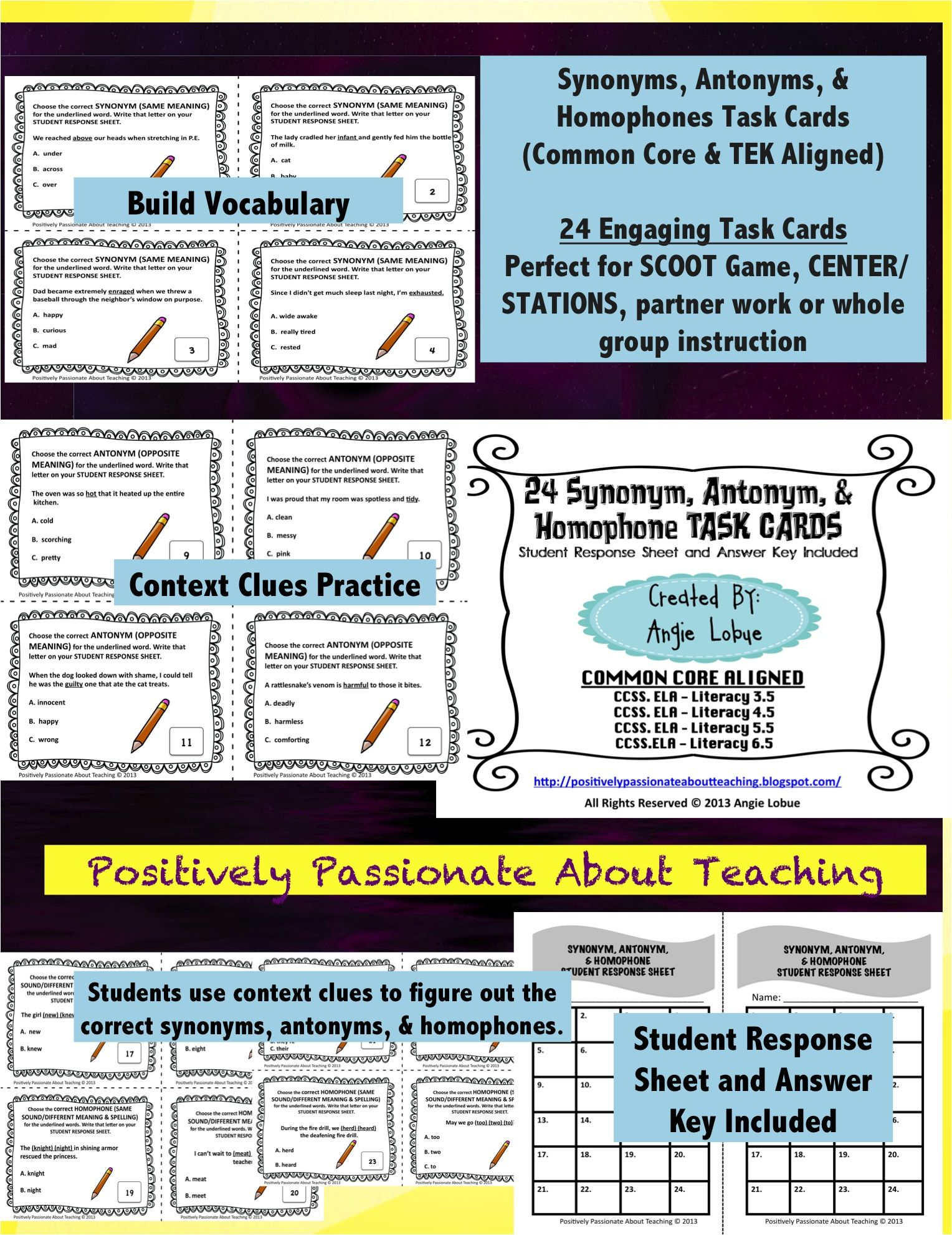 Synonyms Antonyms Amp Homophones Task Cards With And Without Multiple Choice