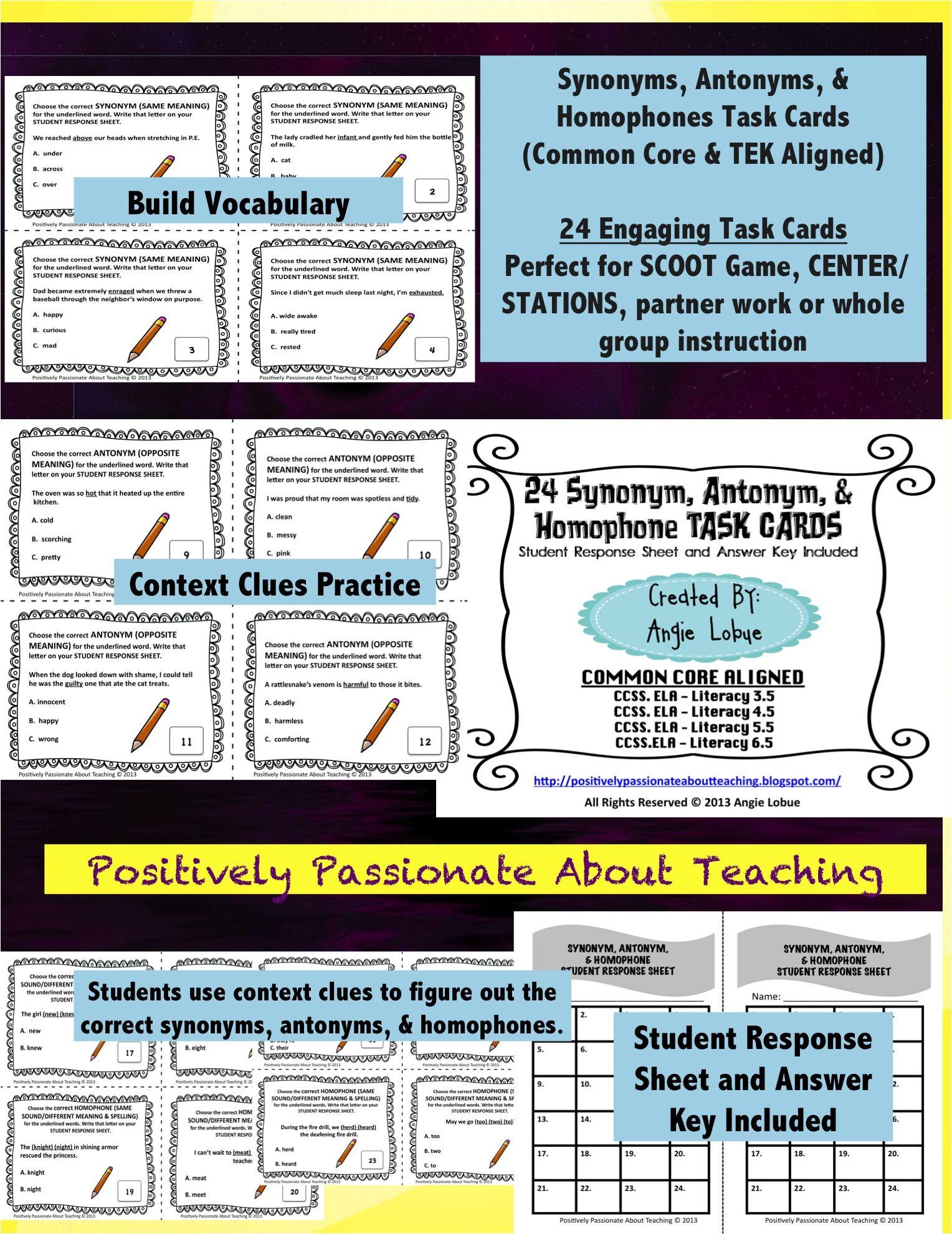 worksheet Synonym Antonym synonyms antonyms homophones 24 task cards literacy center synonym antonym homophone build your students vocabulary skills with