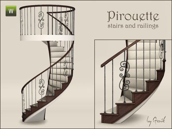 Gosik S Pirouette Spiral Stairs And Railings Spiral Stairs Sims