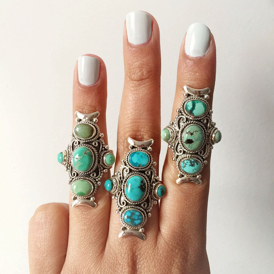 Statement Silver Turquoise Ring