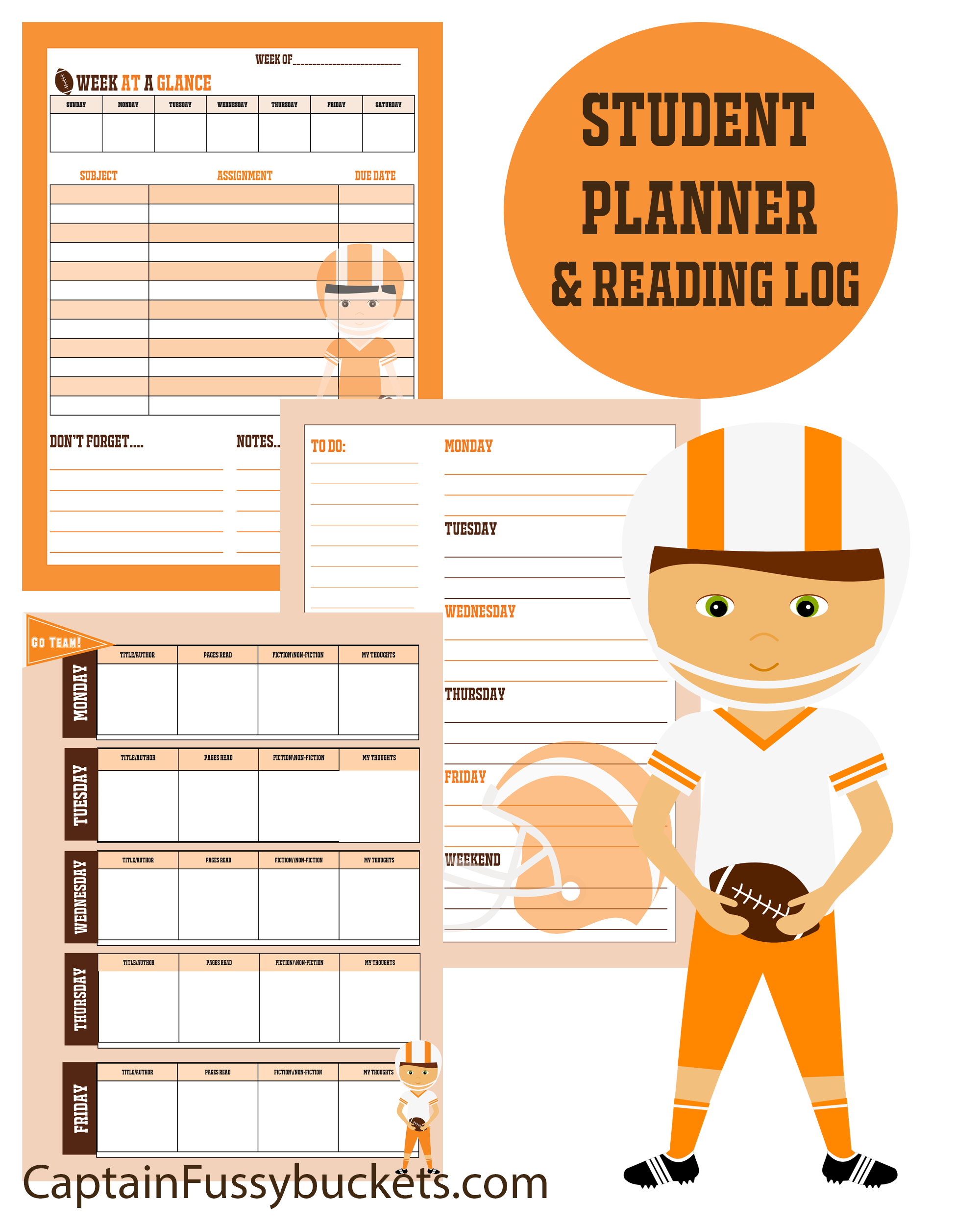 Print These Free Football Themed Student Planners And