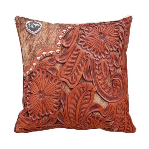 Decorative Western Throw Pillows : Western Tooled Leather Look Throw Pillow home Pinterest Tooled leather, Throw pillows ...