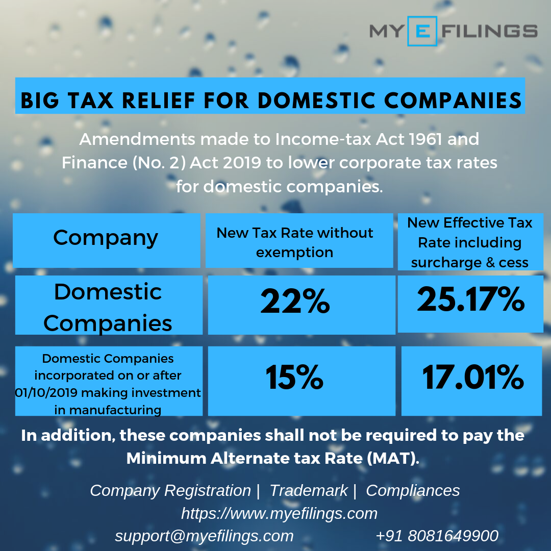 Tax Relief For Domestic Companies Legal Services Finance Income Tax