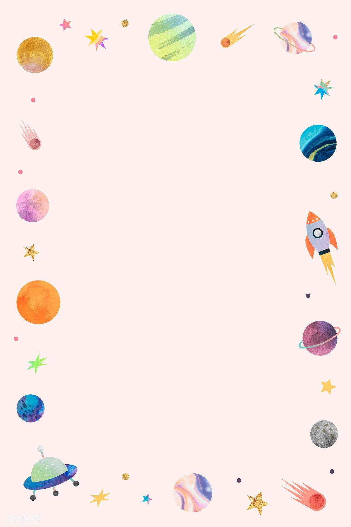 Colorful Galaxy Watercolor Doodle Frame On Pastel Background Vector Premium Image By Rawpixel Com Toon Doodle Frame Watercolor Galaxy Pastel Background
