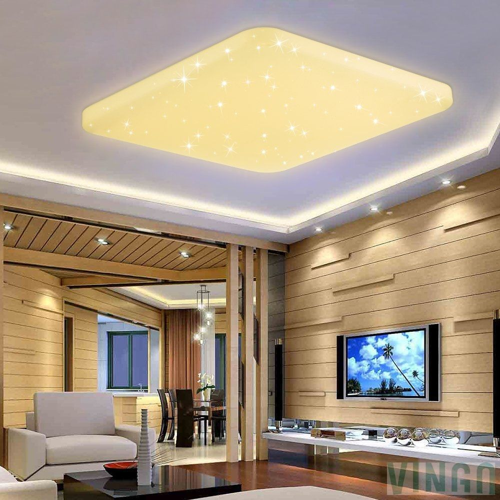 60w Led Deckenlampe Warmweiss Eckig Starlight Deckenbeleuchtung Wand Deckenleuchte Badezimmer Geeigne Mit Bildern Led Deckenlampen Deckenbeleuchtung Lampen