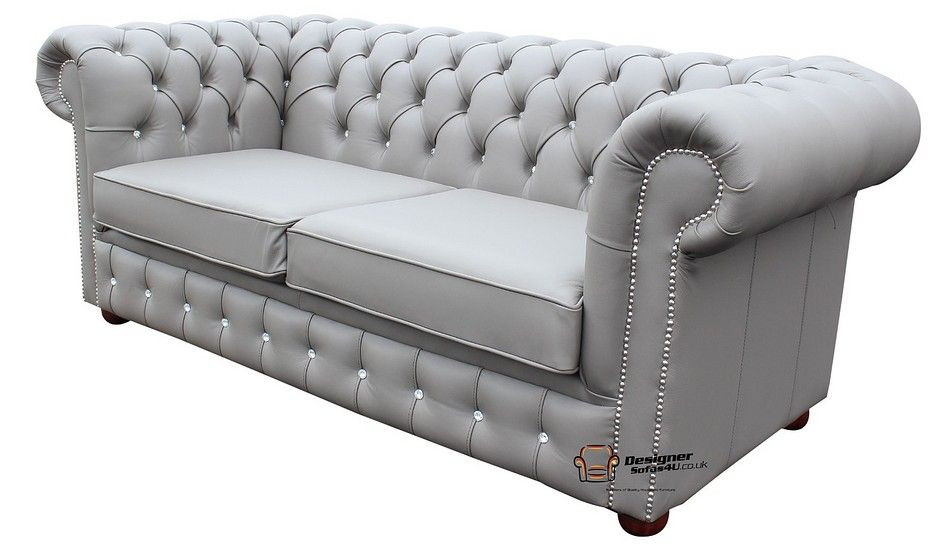 Buy Grey Leather Chesterfield Sofa With Crystal Buttons Grey Leather Chesterfield Sofa Chesterfield Furniture Leather Chesterfield Sofa