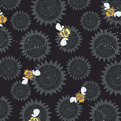 Bumble Bee Fabric | Farm | Black | Floral | Sunflowers | Honey Bee Print |