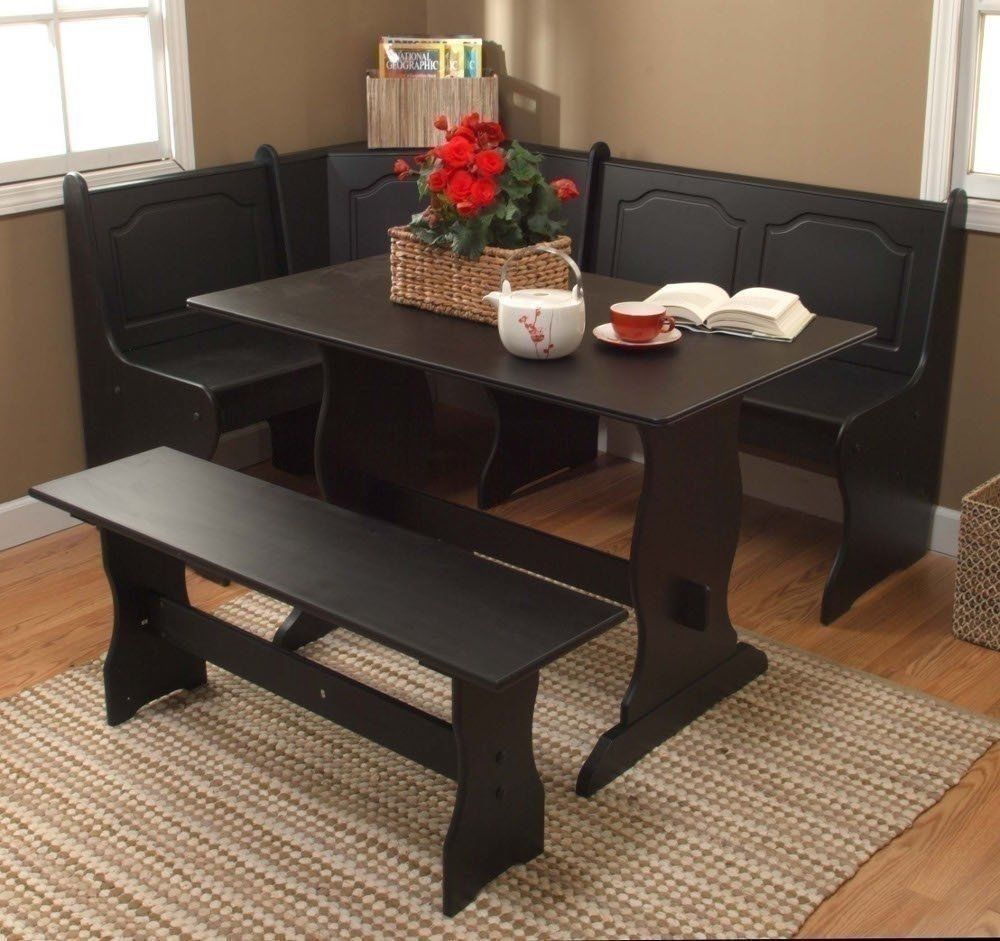3 Pc Black Wooden Breakfast Nook Dining Set Corner Booth Bench Adorable Booth Dining Room Table Review