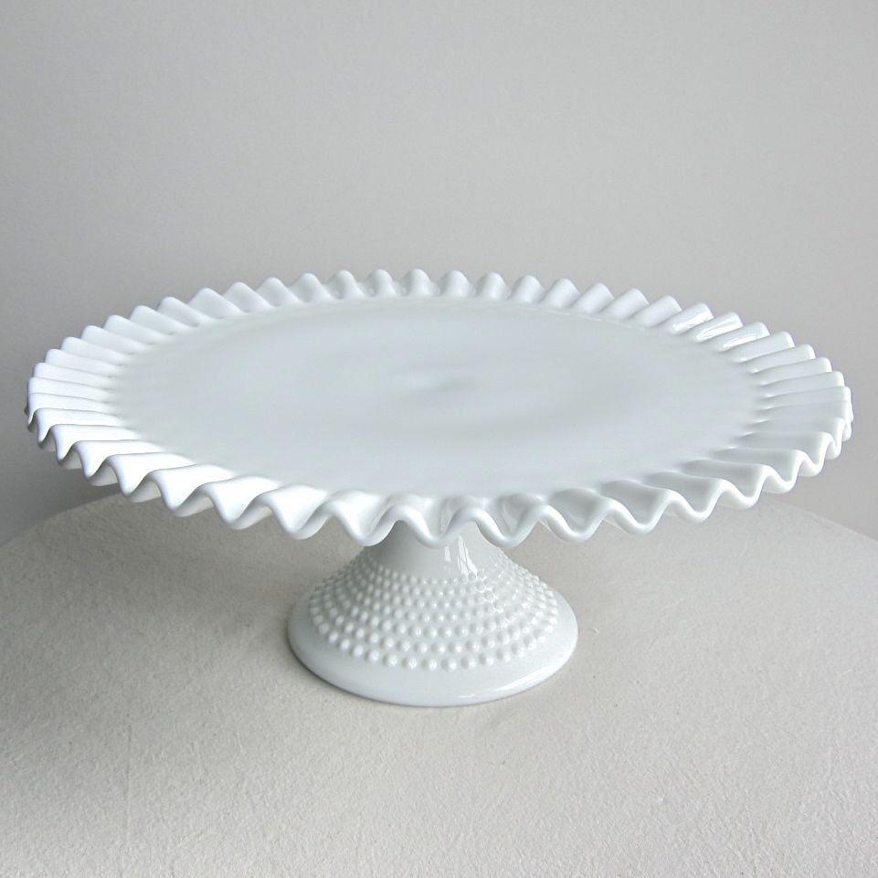 Vintage Hobnail Milk Glass Wedding Cake Stand by Fenton - Pedestal ...