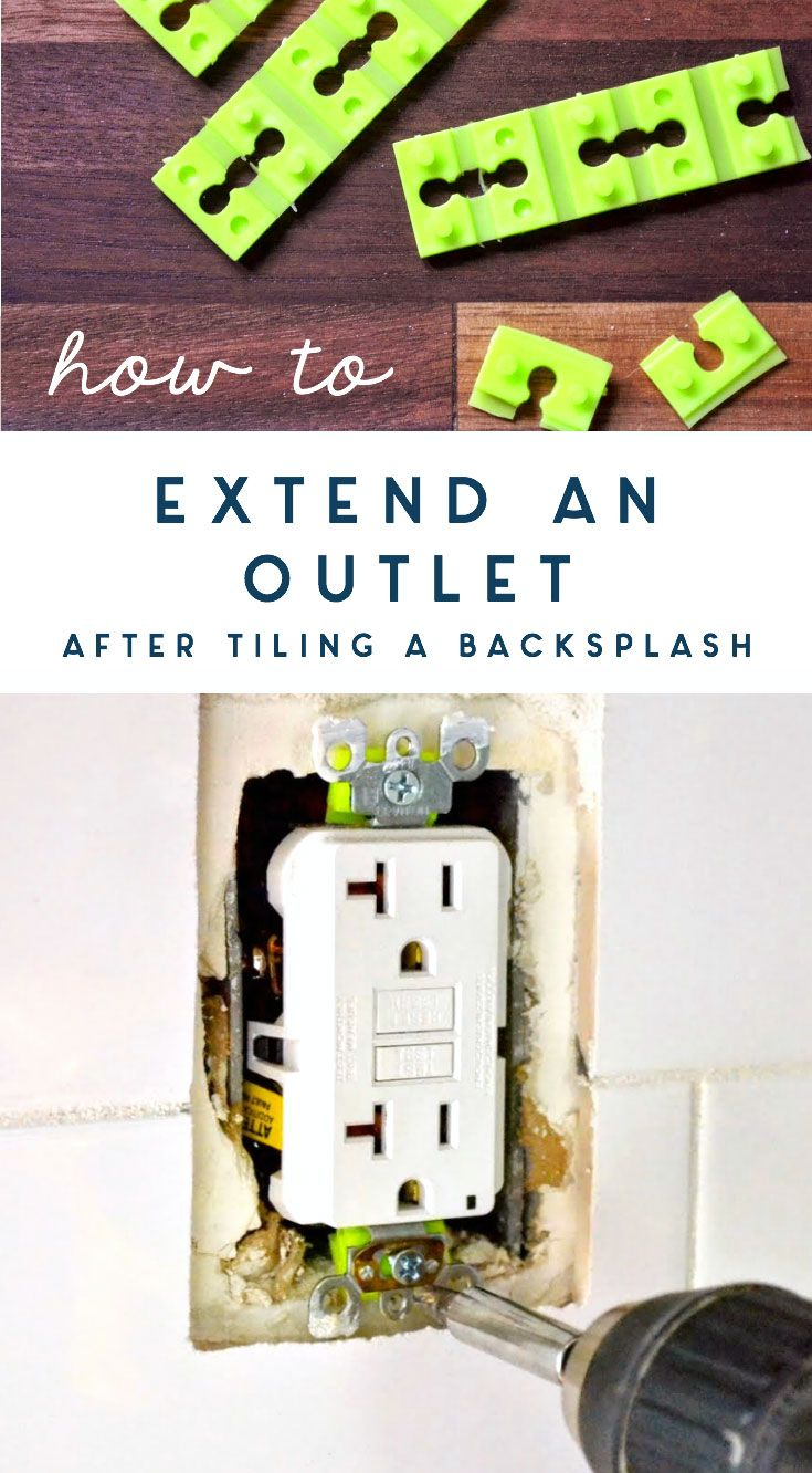 After tiling the new kitchen backsplash, I needed the outlets to be flush with the wall again. Here's how to extend them and keep outlets snug. This also works if your wall outlet is wiggly or loose! #homerepair #tilebacksplash #electrical #outlet #fixit #howto #renovation