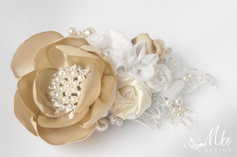 Fascinator Wedding Hair Accessory Bridal Head Piece Chiffon Bobby Pin Ivory Bridal Flower Hair Clip Pearl Beads