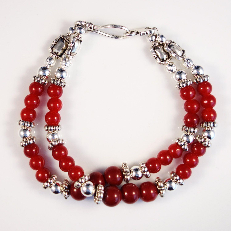 Women's Red Beaded Double Bracelet by DungleBees on Etsy