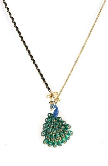 Pretty statement necklace with a peacock pendant