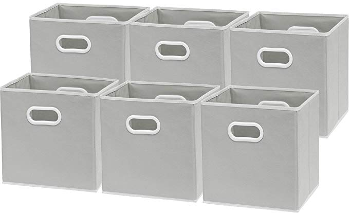 Amazon Com 6 Pack Simplehouseware Foldable Cube Storage Bin With Handle Grey 12 Inch Cube Home Kitchen Cube Storage Bins Cube Storage Storage Bins