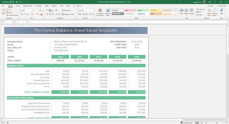 Pro Forma Balance Sheet Excel Template | Etsy in 2020 ...