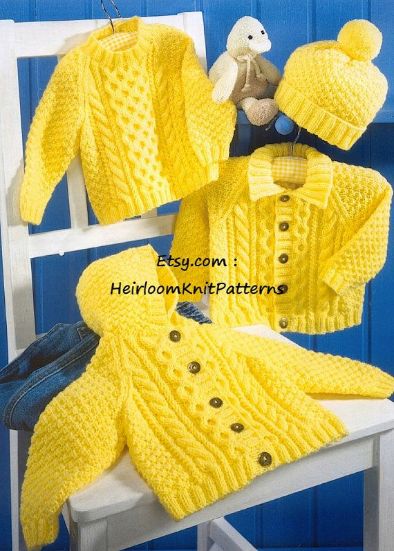 Baby Child\'s Boys Girls Cable Sweater, Jacket and Hat Knitting ...