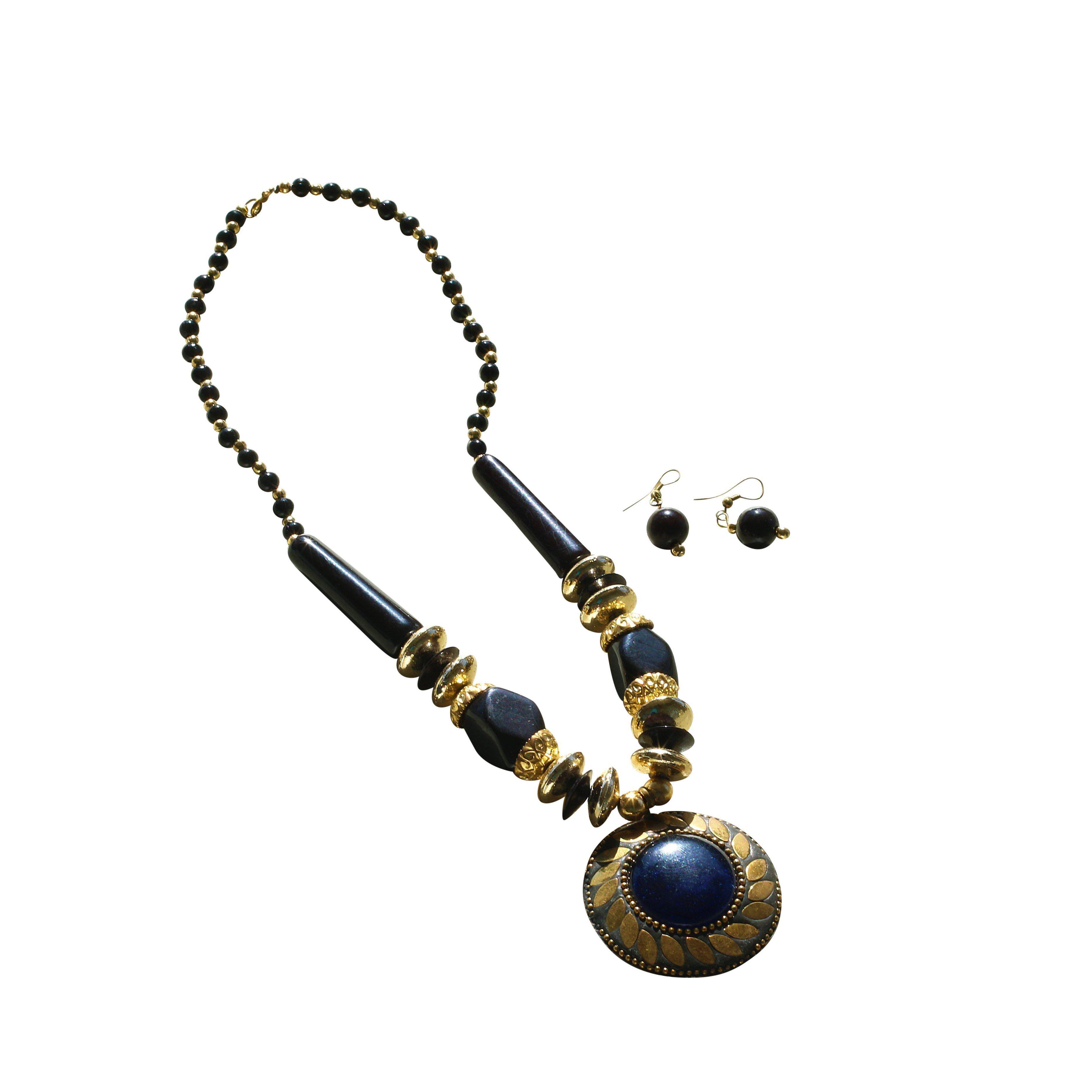 Wonderful black gold combo necklace earring set buying black gold