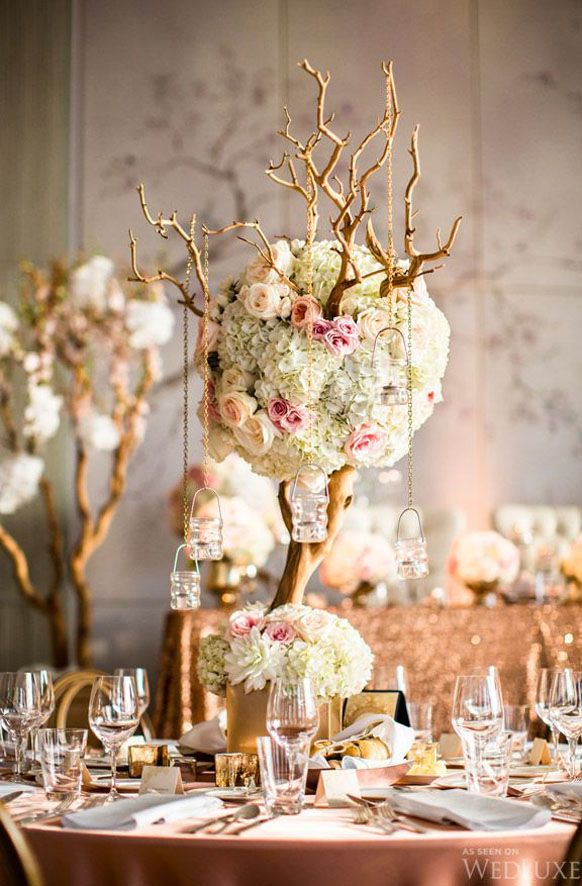 Tall Light Pink Manzanita Branch With Hanging Candles