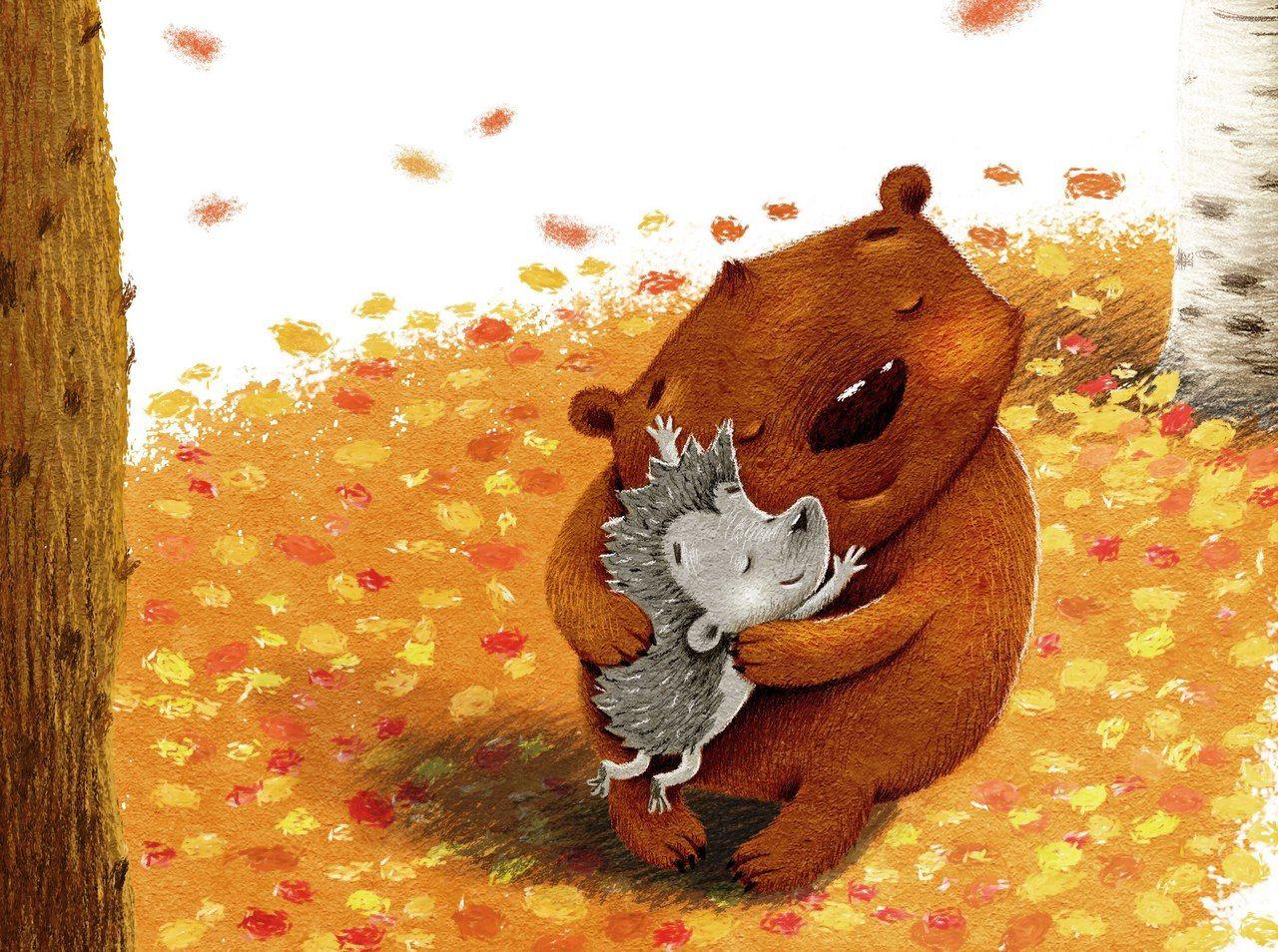 протяжении открытка ежик с медвежонком самые
