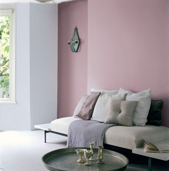 Dusky Pink Colour Heather Bloom 4 Brings A Soft And Relaxed Feel To A Living Space Team With Soft Feature Wall Living Room Pink Living Room Pink Bedroom Walls Heather colour bedroom ideas