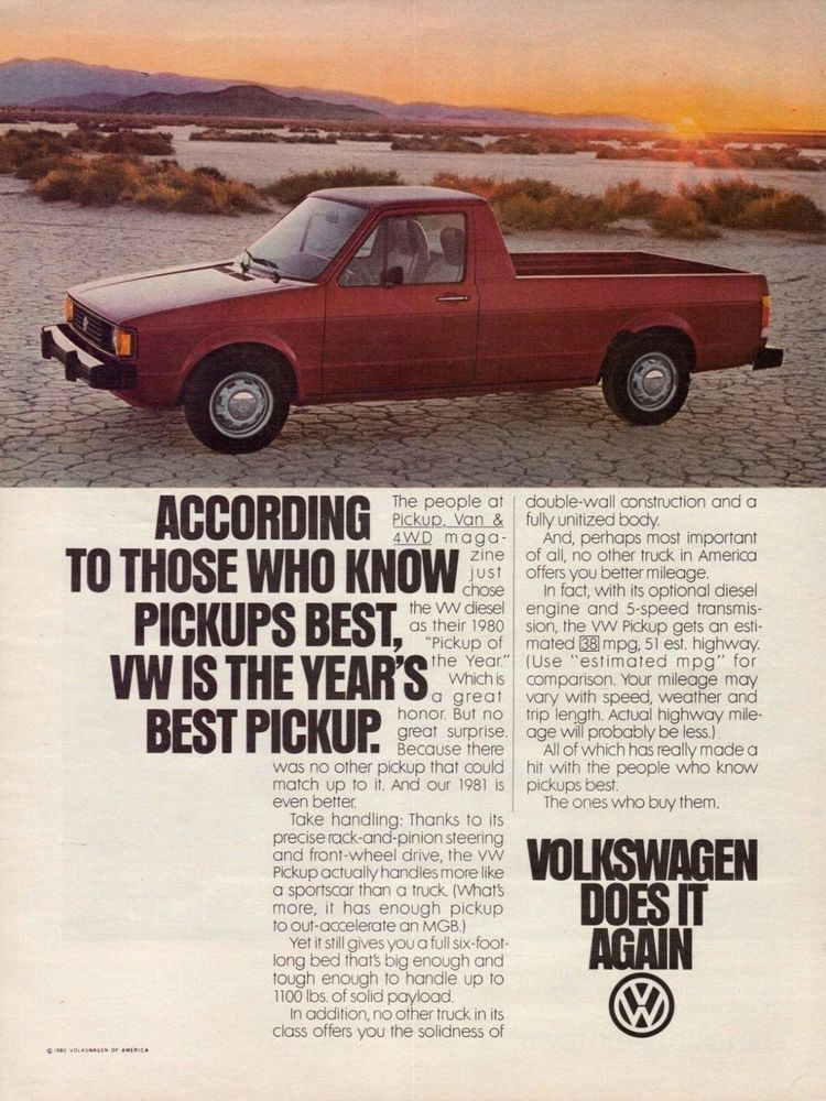 1980 Vw Volkswagen Sel Pickup Truck Red Vintage Color Photo Print Ad