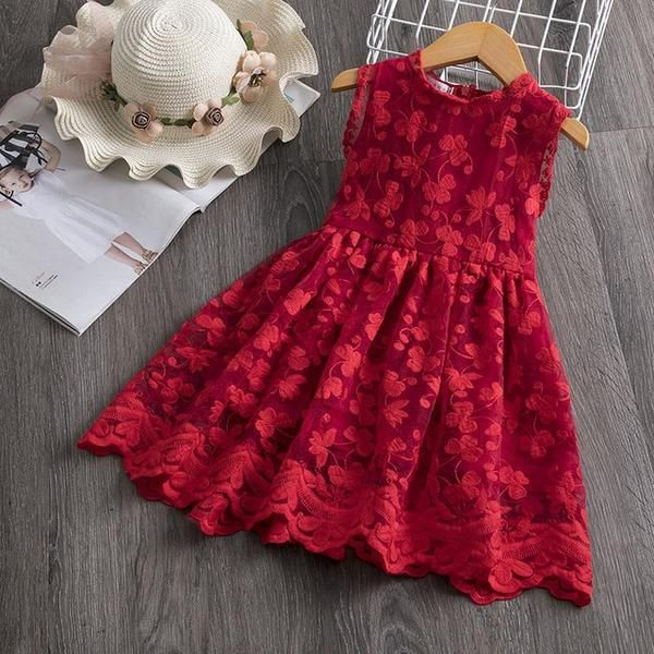 Girl Dress Kids Dresses For Girls Mesh Casual Lace Embroidery Princess Baby Girl Clothes Summer Sleeveless Dress Kids Clothes #babygirlpartydresses