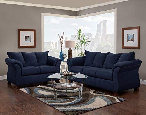 Roundhill Furniture Aruca Navy Blue Microfiber Pillow Back Sofas, Roundhill Furniture
