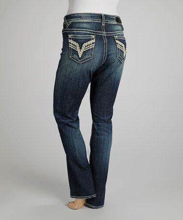 Take a look at this Dark Wash Chelsea Straight-Leg Jeans – Plus by Vigoss on #zulily today!
