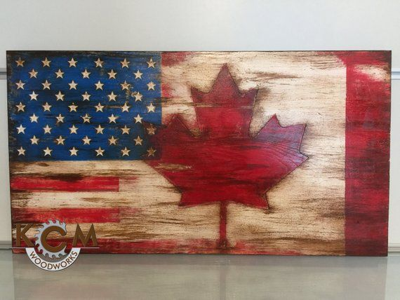 Engraved US American Canada Combo Flag, Hand painted, Rustic Wood