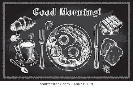 Traditional Breakfast Set English Breakfast Coffee Croissant Toast Waffle Food Elements Collection Vec Chalkboard Art Vintage Posters Chalkboard Designs