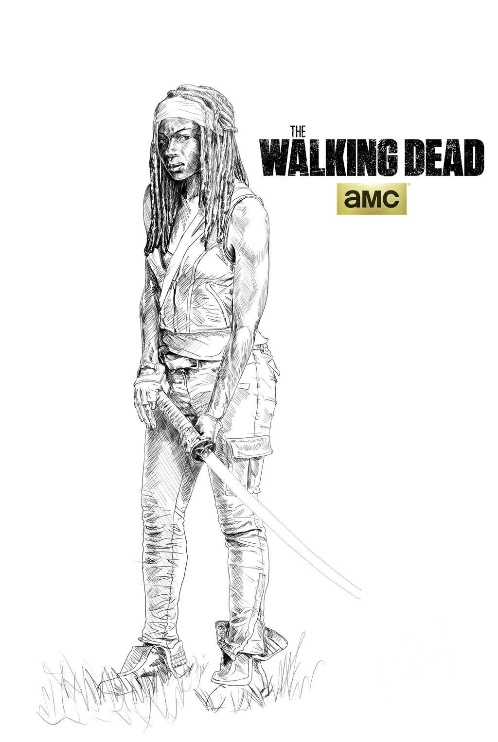 Michonne The Walking Dead Desenhos Apocalipse Zumbi Zumbi