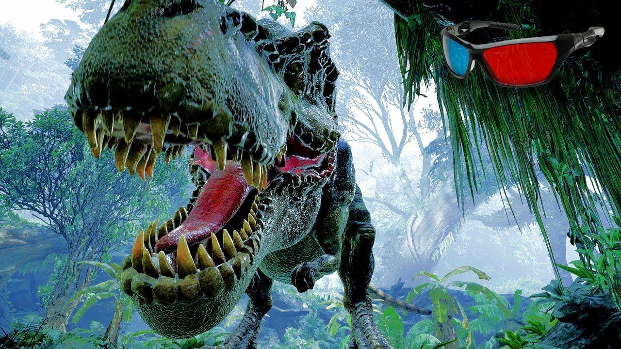 Dinosaur 3D Anaglyph 3D Jurassic Park Simulation [HD 3D