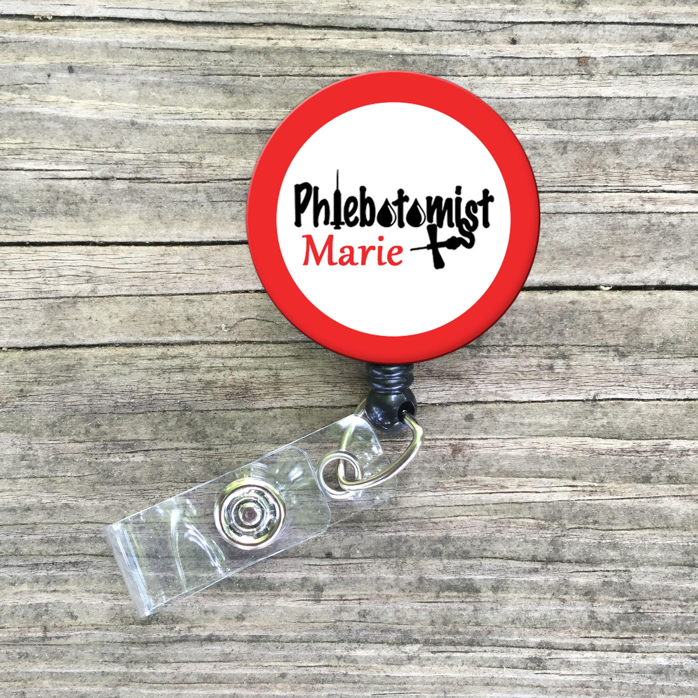 Phlebotomist phlebotomy lab id badge reel lanyard custom