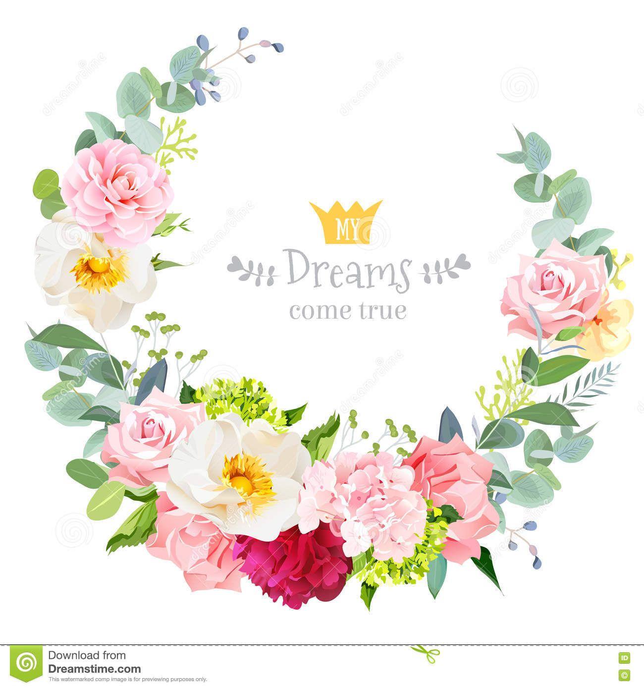 Cute wedding floral vector design round frame. Flower