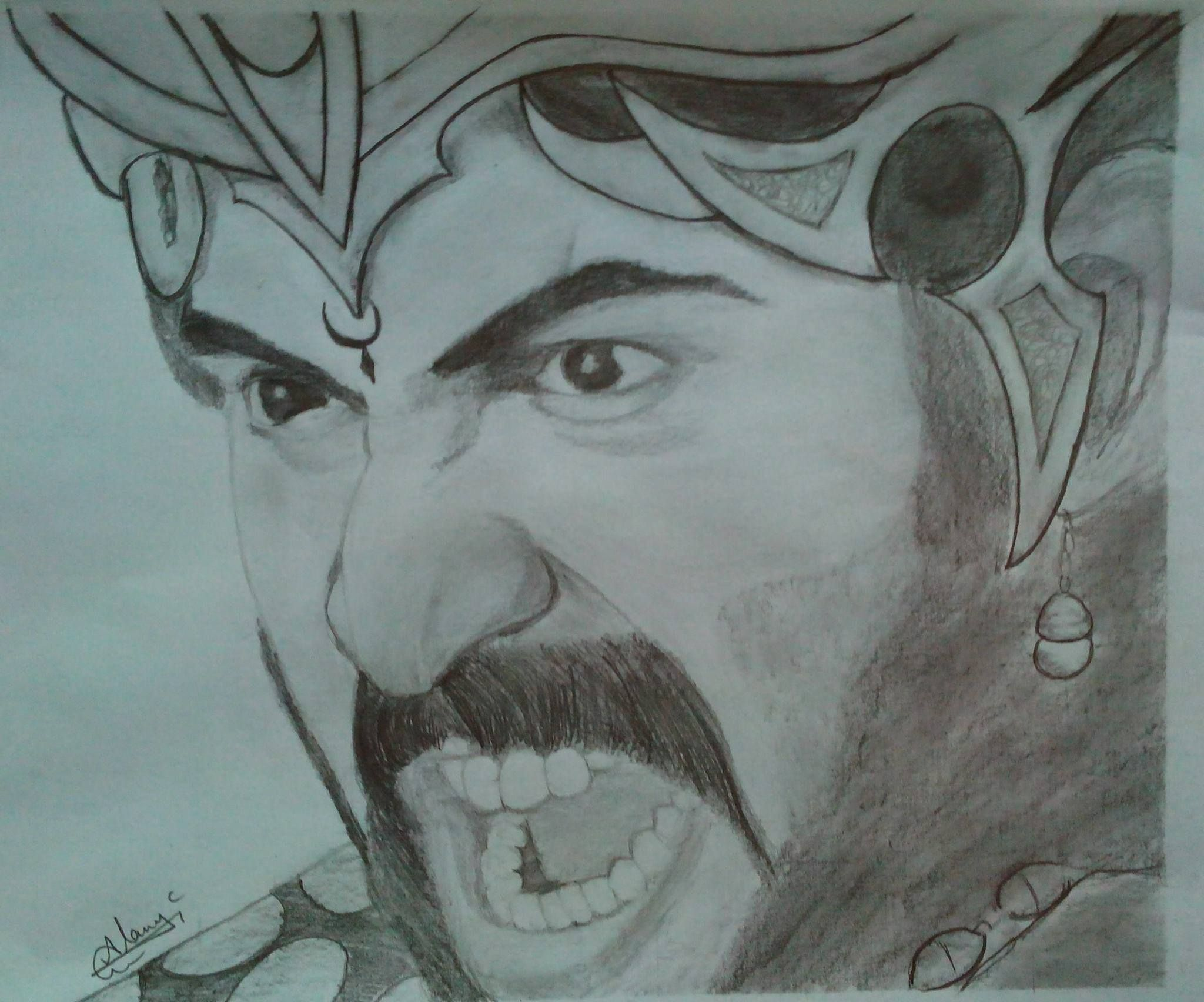 Pencil sketch of ranas bhallala deva getup by vamsi bahubali 2 pencil art