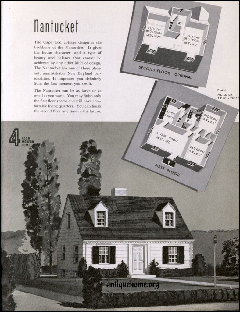 1940 Sears Modern Homes By Daily Bungalow Vintage House Plans Cape Cod House Plans Modern House