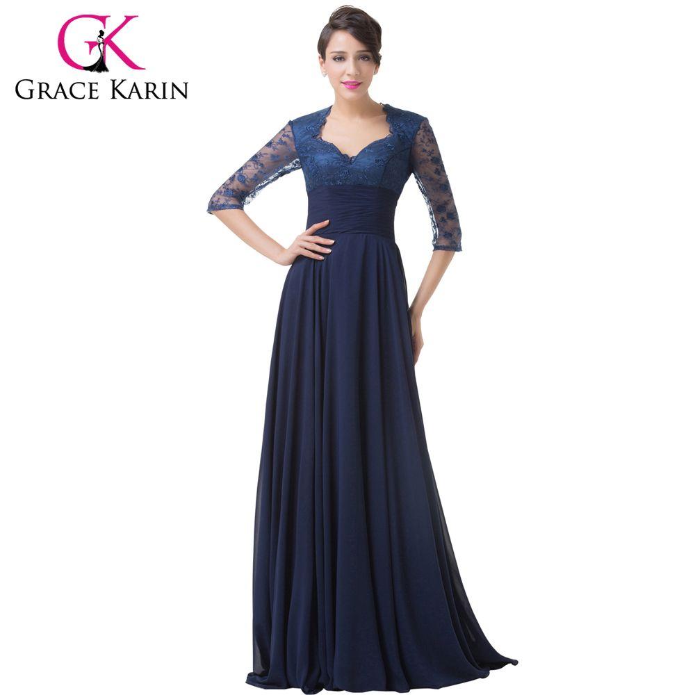 Grace karin half sleeve evening dresses elegant long formal party
