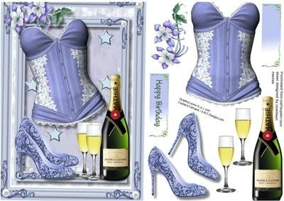 Lovely Blue Basque and Bbubbly  on Craftsuprint designed by Ceredwyn Macrae - A lovely card to make and give to any female on there birthday with a Lovely Blue Basque and Bubbly has one greeting tag and a blank one  - Now available for download!