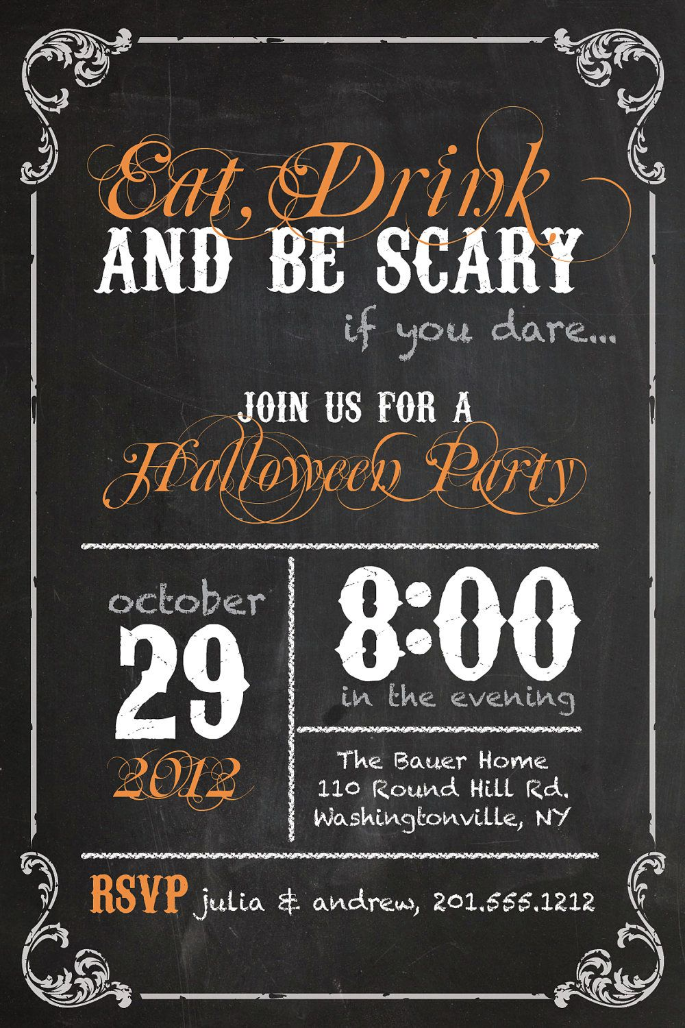 Vintage blackboard poster sweet 16 birthday invitation diy for Vintage halloween party invitations
