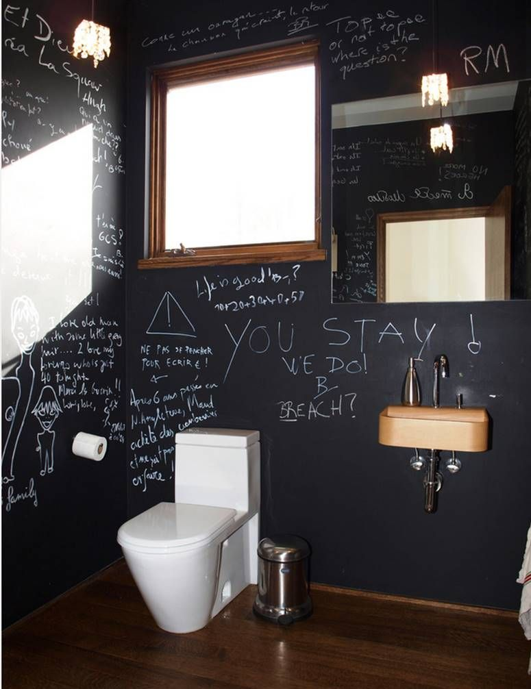 Great Idea For Powder Room This Blackboard Wall Will Keep The Laughs Coming Simple Bathroom Remodel Simple Bathroom Half Bathroom Remodel