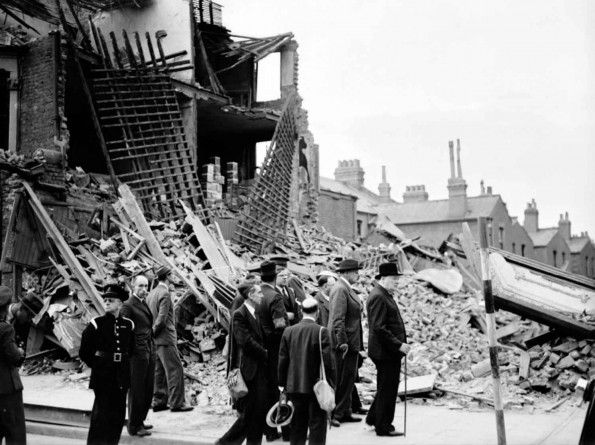 The Prime Minister Winston Churchill Visits Bombed Out Buildings