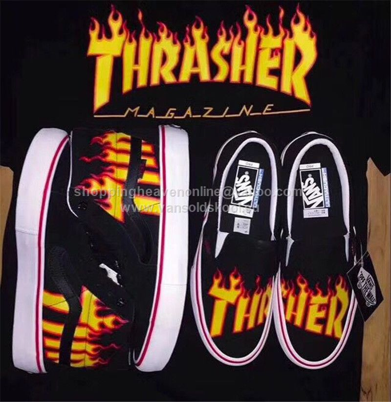 Thrasher x Vans Slip On Pro Flame Fire Limited Edition Skateboard Shoes  35-44.5 http