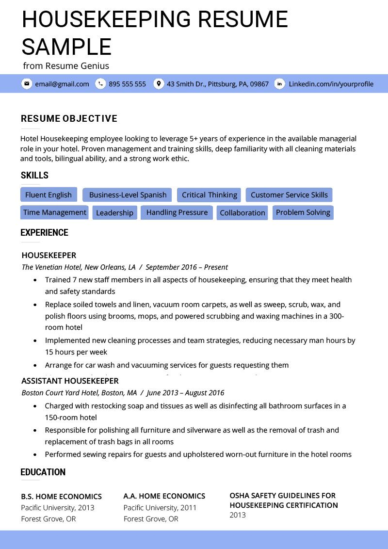 Housekeeping Summary for Resume High Class Housekeeping