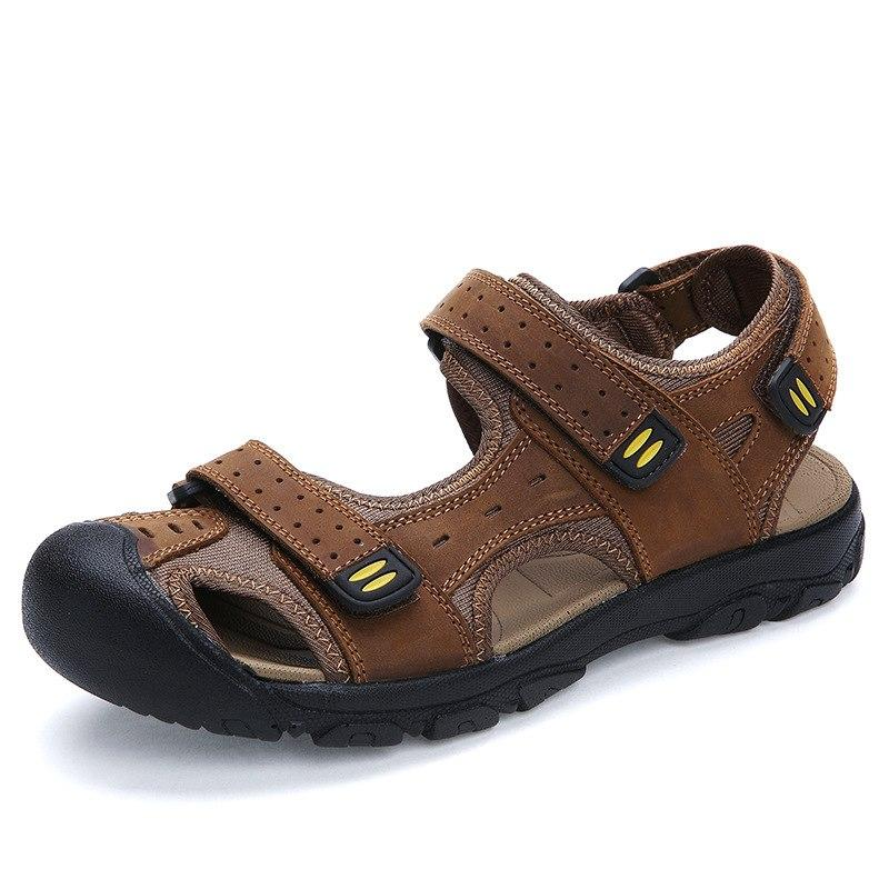 d9b7e55f5 US  29.03 BIMUDUIYU Top Quality Mens Sandals Leisure Genuine Leather Summer  Cool Light Weight Beach Casual Shoes Handmade Stitching. Aliex…